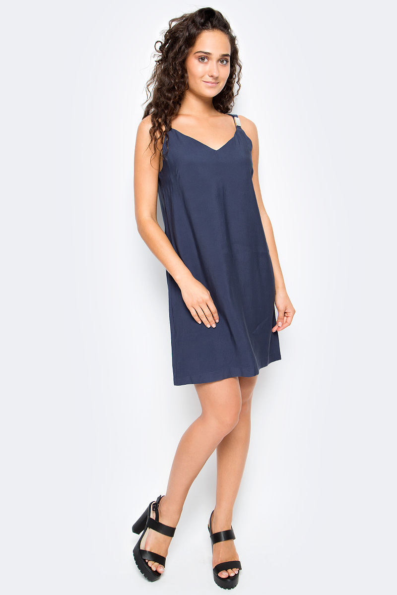 Платье Top Secret, цвет: серо-синий. SSU1954GR. Размер 40 (48)SSU1954GRСтильное платье Top Secret выполнено из высококачественного материала с добавлением вискозы. Модель мини длины на широких бретелях. Бретели декорированы металлическими элементами.