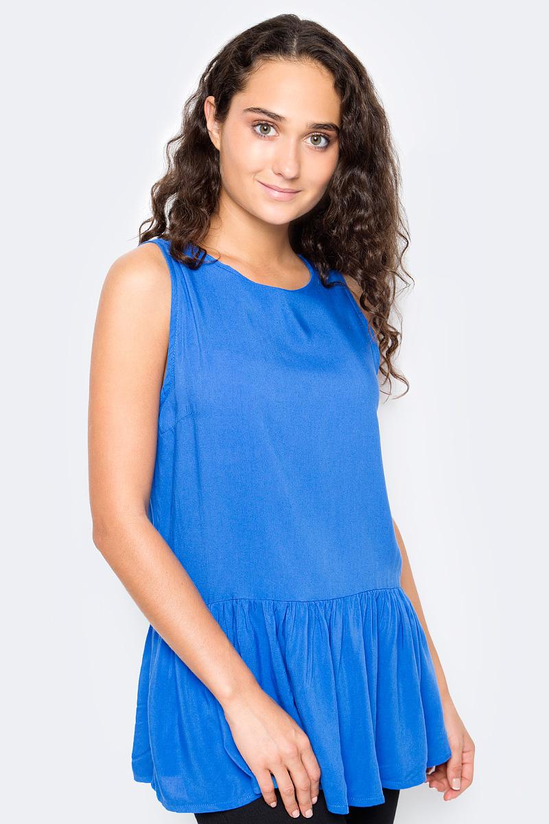 Блузка женская Top Secret, цвет: синий. SBW0373NI. Размер 36 (44)SBW0373NIЖенская блузка Top Secret выполнена из натуральной вискозы. Модель без рукавов и с круглым вырезом горловины по низу оформлена баской, на спине дополнена завязками.
