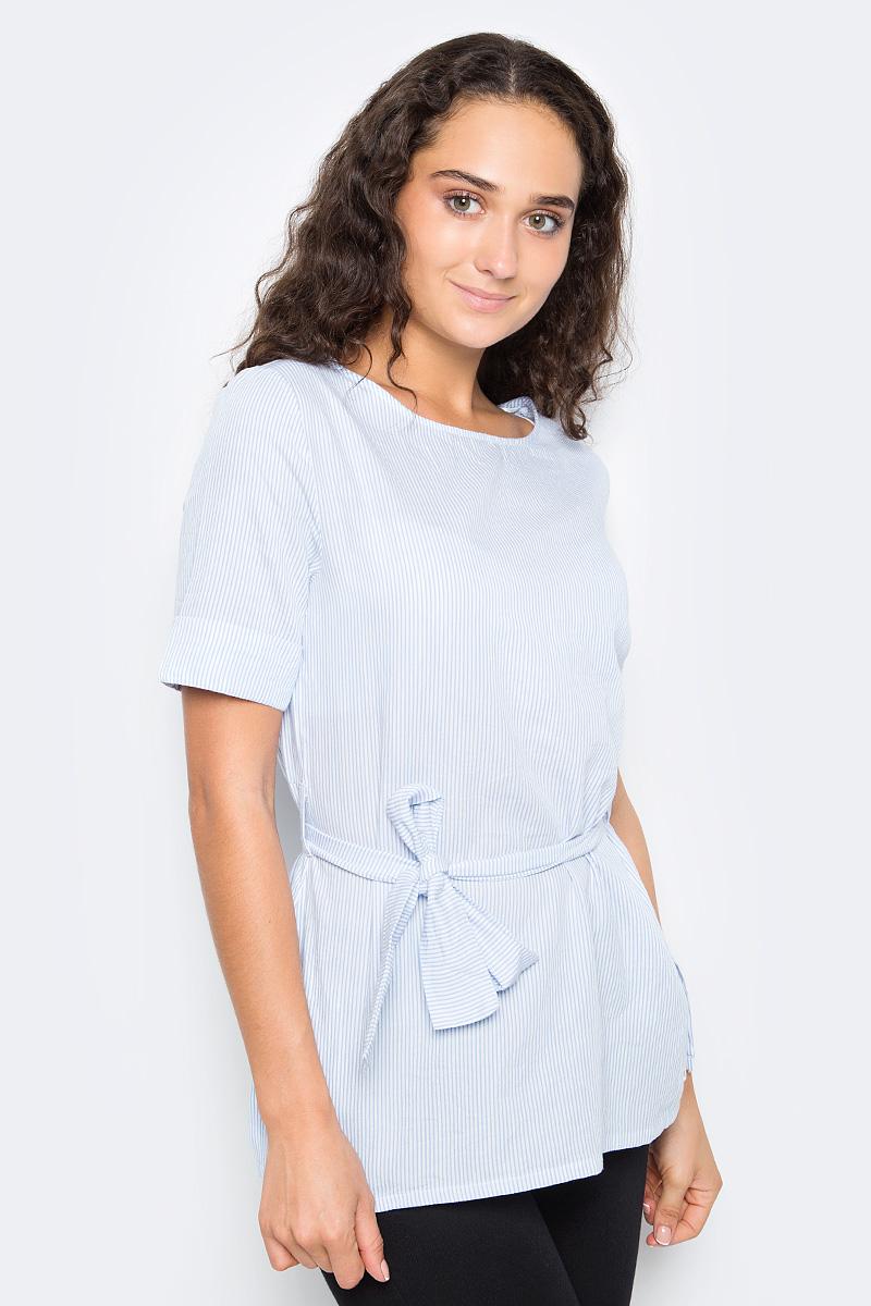 Блузка женская Top Secret, цвет: голубой, белый. SBK2266BL. Размер 38 (46)SBK2266BLЖенская блузка Top Secret выполнена из натурального хлопка. Модель с круглым вырезом горловины и короткими рукавами на талии дополнена текстильным поясом.