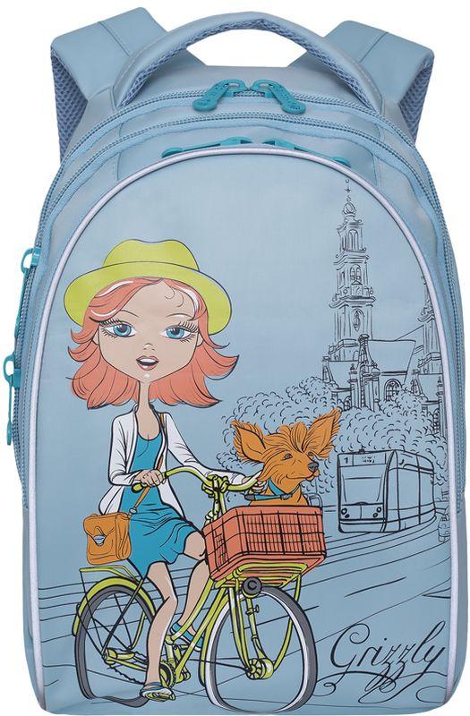 Grizzly Рюкзак цвет голубой RG-768-1/1RG-768-1/1Рюкзак Grizzly - это красивый и удобный рюкзак, который подойдет всем, кто хочет разнообразить свои школьные будни.Рюкзак выполнен из плотного материала и оформлен оригинальным принтом c изображением девочки на велосипеде. Рюкзак имеет три основных отделения, закрывающиеся на застежки-молнии с двумя бегунками. Внутри первого отделения располагается накладной карман на молнии. Внутри отделения с лицевой стороны находится органайзер для канцелярских принадлежностей.Рюкзак оснащен удобной текстильной ручкой для переноски в руке, а также дополнен светоотражающими вставками. Мягкие укрепленные лямки регулируются по длине. Спинка рюкзака имеет воздухопроницаемые вставки, обеспечивающие необходимую вентиляцию.Многофункциональный школьный рюкзак станет незаменимым спутником вашего ребенка в походах за знаниями.