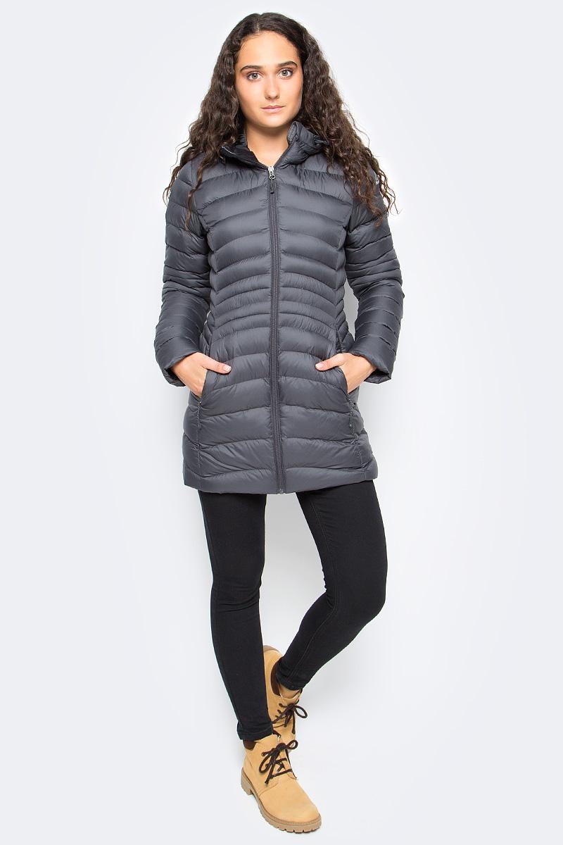 Куртка женская Reebok Od Dwnlk Prka, цвет: серый. BR0501. Размер XL (52/54)BR0501Женская куртка Reebok выполнена из водонепроницаемой и дышащей ткани - высококачественного полиэстера. В качестве наполнителя используется 100% полиэстер. Модель с капюшоном застегивается на застежку-молнию. Изделие оснащено двумя прорезными карманами на застежках-молниях. Объем капюшона регулируется при помощи эластичного шнурка со стопперами. Куртка дополнена светоотражающими элементами.