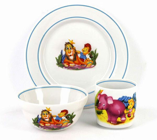 Набор детской посуды Фарфор Вербилок Джунгли. 181414501 салатник фарфор вербилок крокус 1 1 л