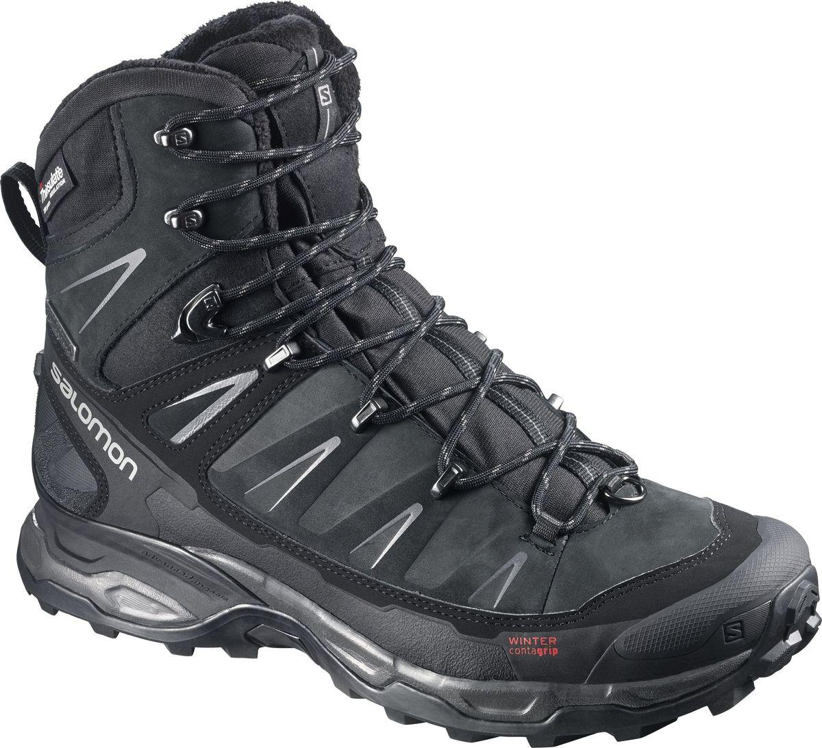 Ботинки мужские Salomon X Ultra Winter CS WP, цвет: черный. L37663500. Размер 9,5 (42,5)L37663500Ботинки X Ultra Winter CS хорошо защищают ноги в зимних условиях, обеспечивая новый уровень удобства посадки и качества. Легкая, поддерживающая стопу промежуточная подошва с шасси Advanced Chassis, непромокаемая конструкция и утеплитель Thinsulate сохранят тепло и сухость, а агрессивный рисунок подошвы подарит уверенность на мокрой, снежной или обледенелой поверхности.