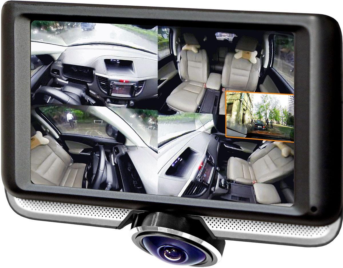 Каркам А360 видеорегистратор автомобильный панорамныйКАРКАМ А360Каркам А360 — автомобильный видеорегистратор, оснащённый широкоугольным объективом с углом обзора 360°, который позволяет фиксировать дорожную обстановку как перед автомобилем, так и по бокам от него. Также в поле зрения объектива попадает весь салон автомобиля, благодаря этому вы сможете контролировать обстановку в салоне авто, при этом не прекращая съемку в направлении движения. Помимо этого в комплект входит дополнительная камера для фиксации обстановки позади автомобиля. Устройство оснащено сенсорным дисплеем 4.5, что обеспечивает быструю и удобную навигацию в меню видеорегистратора.Объектив с углом обзора 360° позволяет устройству вести панорамную съемку во всех направлениях, одновременно фиксируя обстановку перед автомобилям, по его бокам и внутри салона. Такой тип объектива избавит вас от необходимости устанавливать несколько камер в салоне вашего автомобиля. Также благодаря настройке угла наклона объектива, вы сможете более тщательно отрегулировать область, которая попадает в кадр.Каркам А360 ведет запись в высоком разрешении 1440х1440p с частотой 24 кадра в секунду, что позволит вам с легкостью рассмотреть на записи все необходимые детали происходящего на пути вашего следования.Устройство оснащено дополнительной компактной камерой, которая позволит вам фиксировать дорожную обстановку позади автомобиля.Емкий аккумулятор 450 мАч, гарантирует до 30 минут работы устройства без внешнего питания. Это позволит вам, в случае необходимости покинуть автомобиль с включенным видеорегистратором, например, для демонстрации видео доказательства сотруднику ДПС.Видеорегистратор поддерживает карты памяти microSD до 128 ГБ, что позволит вам не беспокоится о том, хватит ли места для необходимого видео.Благодаря G-сенсору, в случае резкого торможения или удара, видео автоматически будет защищено от перезаписи.При отключении внешнего питания, устройство продолжает запись по срабатыванию датчика удара (G-сенсора).