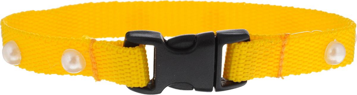 Ошейник для животных GLG Бусины, цвет: желтый, ширина 1 см, длина 24 смOH05/B_желтыйОшейник для животных GLG Бусины изготовлен из нейлона и снабжен пластиковой застежкой фастекс. Сверхпрочные нити делают ошейник надежным и долговечным. Ошейник отличается высоким качеством, удобством и универсальностью. Предназначен для собак мелких пород и кошек. Изделие дополнено бусинами-жемчужинами.Обхват шеи: 28 см. Ширина ошейника: 1 см.