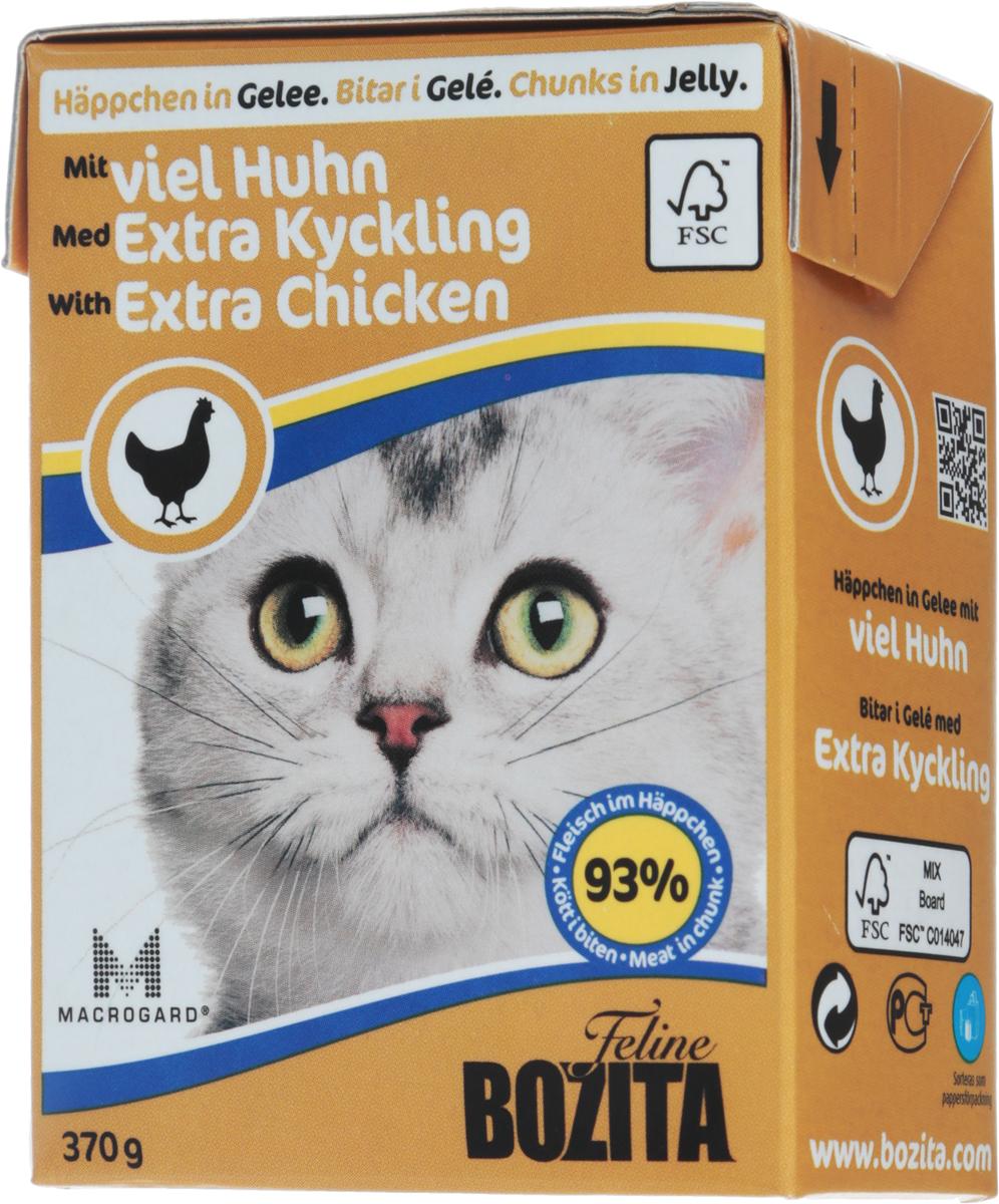 Консервы для кошек Bozita Feline, с рубленой курицей в желе, 370 г4957Консервы Bozita Feline - это полнорационное влажное питание премиум класса для кошек. Содержит 93% свежего шведского мяса, которое никогда не было заморожено. Состав: курица (92% в порции), свинина, говядина, карбонат кальция, дрожжи MacroGard. Добавки на кг: витамин А 2000МЕ, витамин D3 200МЕ, витамин Е 12 мг, таурин 700 мг, медь 2 мг (сульфат меди-(II), пентагидрат), марганец 1,8 мг (оксид марганца -II и -III), цинк 14 мг (сульфат цинка, моногидрат), йод 0,1 мг (йодат кальция, моногидрат). Содержит все витамины и минералы, в которых нуждается ваш питомец. Технические добавки на кг: кассия десен 1180 мг.Анализ состава: белок 8,5%, жир 4,5%, клетчатка 0,5%, минеральные вещества (сырая зола 2,3%, кальций 0,35%, фосфор 0,3%, магний 0,02%), влага 83%. Продукт не содержит ГМО. Энергетическая ценность: 290 кДж/100г. Вес: 370 г.Товар сертифицирован.Уважаемые клиенты! Обращаем ваше внимание на то, что упаковка может иметь несколько видов дизайна. Поставка осуществляется в зависимости от наличия на складе.