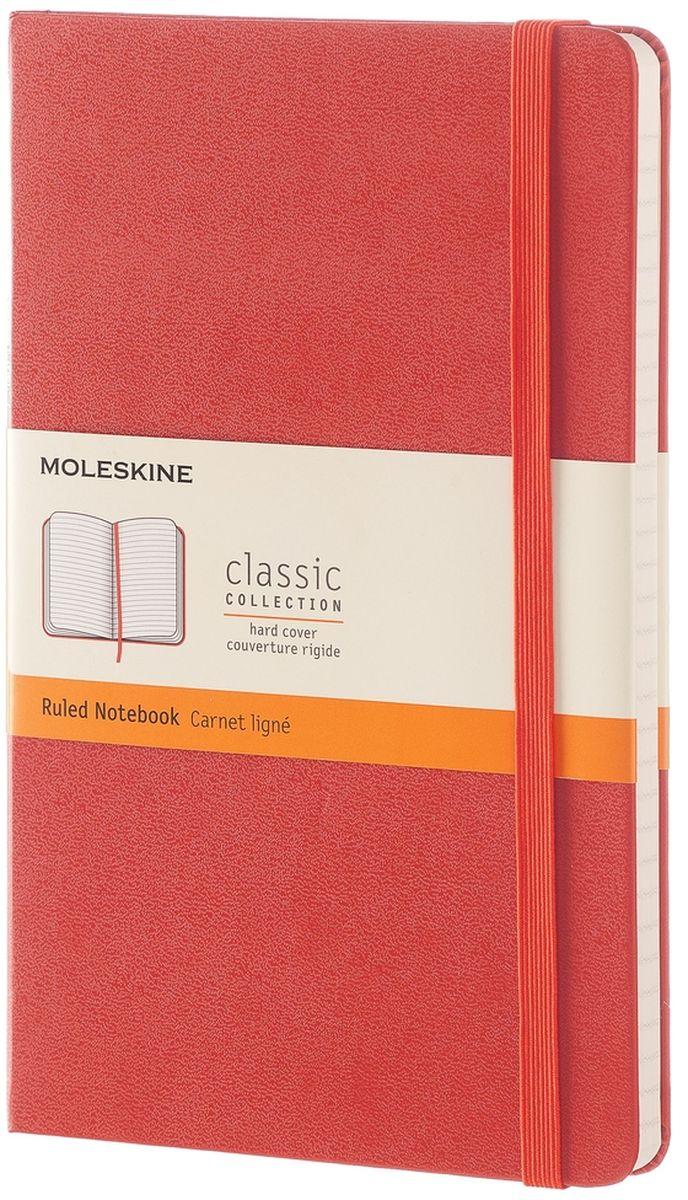 Moleskine Записная книжка Classic Large 120 листов в линейку цвет оранжевыйQP060F16Простая, но уже ставшая классикой записная книжка Moleskine Classic Large в клетку станет вашим стильным попутчиком. Она идеально подходит для подсчетов, записи мыслей и заметок. Имеет картонную обложку со скругленными углами, закладкой, эластичной застежкой и вместительным внутренним карманом, куда вложена открытка с историей Moleskine.