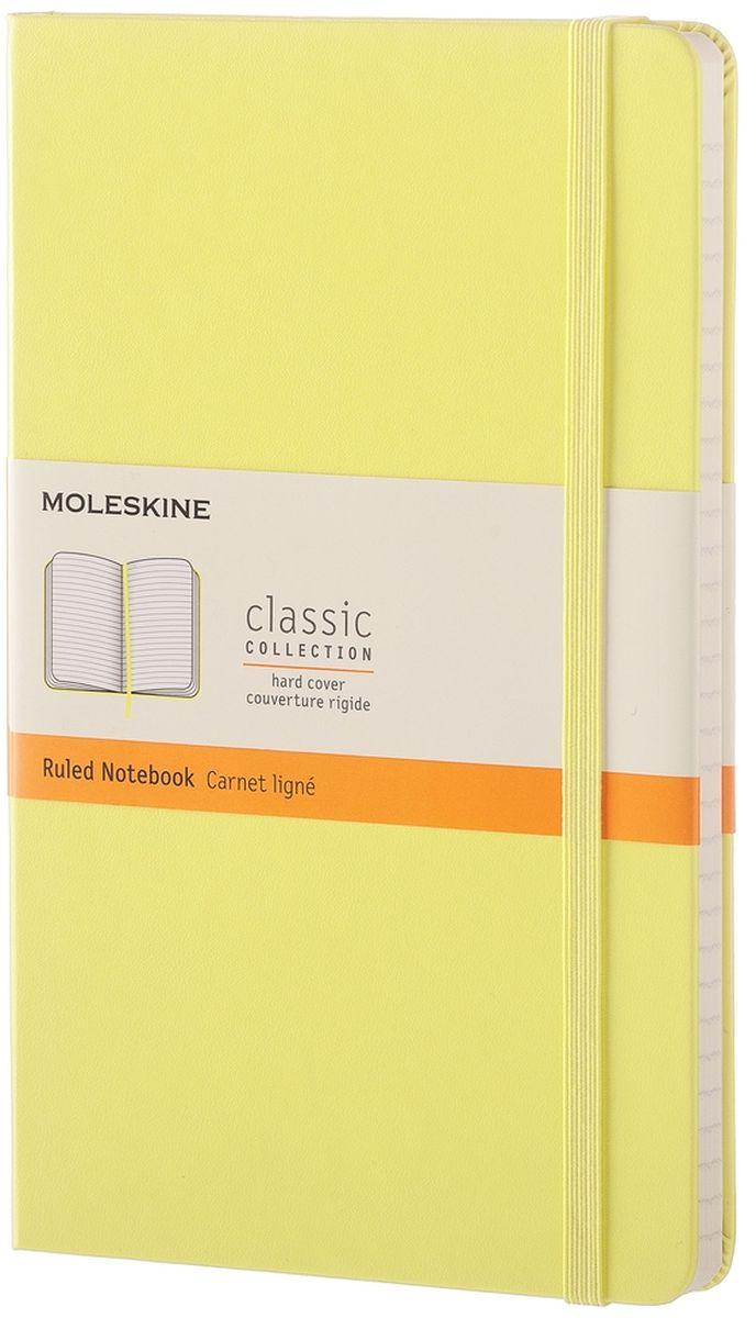 Moleskine Записная книжка Classic Large 120 листов в линейку цвет желтый117215CПростая, но уже ставшая классикой записная книжка Moleskine Classic Large в линейку станет вашим стильным попутчиком. Она идеально подходит для подсчетов, записи мыслей и заметок. Имеет картонную обложку со скругленными углами, закладкой, эластичной застежкой и вместительным внутренним карманом, куда вложена открытка с историей Moleskine.