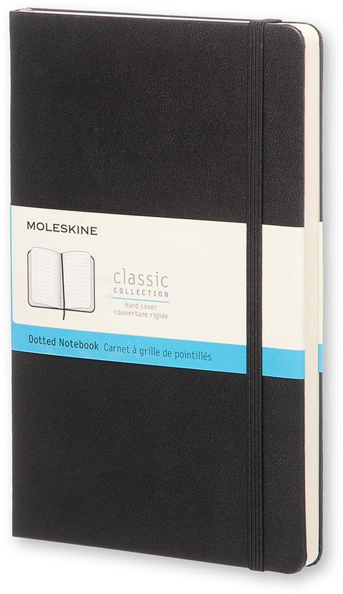 Moleskine Записная книжка Classic Large 120 листов в точку цвет черныйQP066Простой, но уже ставший классикой блокнот Moleskine Classic Large с оригинальной разметкой пунктир станет вашим стильным попутчиком. Он идеально подходит для подсчетов, записи мыслей и заметок. Записная книжка имеет картонную обложку со скругленными углами, закладкой, эластичной застежкой и вместительным внутренним карманом, куда вложена открытка с историей Moleskine.