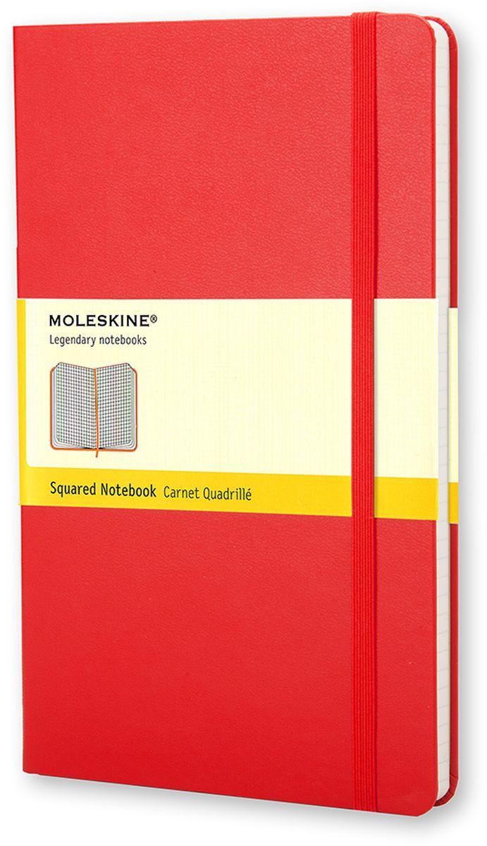 Moleskine Записная книжка Classic Large 120 листов в клетку цвет красныйQP061RПростая, но уже ставшая классикой записная книжка Moleskine Classic Large в клетку станет вашим стильным попутчиком. Она идеально подходит для подсчетов, записи мыслей и заметок. Имеет картонную обложку со скругленными углами, закладкой, эластичной застежкой и вместительным внутренним карманом, куда вложена открытка с историей Moleskine.