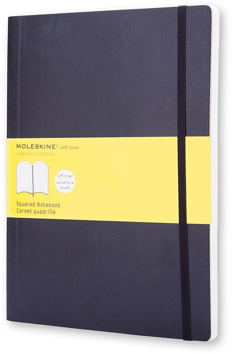 Moleskine Записная книжка Classic Soft Xlarge 96 листов в клетку цвет черныйQP622Записная книжка Moleskine Classic Soft имеет цветную мягкую обложку со скругленными углами и обладает всеми преимуществами легендарной записной книжки Moleskine. Обложка гибкая и прочная. Плотные бумажные страницы только и ждут того, чтобы вы заполнили их своими идеями. Записная книжка дополнена лентой-закладкой, эластичной застежкой и вместительным внутренним карманом, куда вложена открытка с историей Moleskine.Эта записная книжка бесспорно станет надежным спутником в путешествии и поможет сохранить яркие впечатления, воспоминания и наблюдения.
