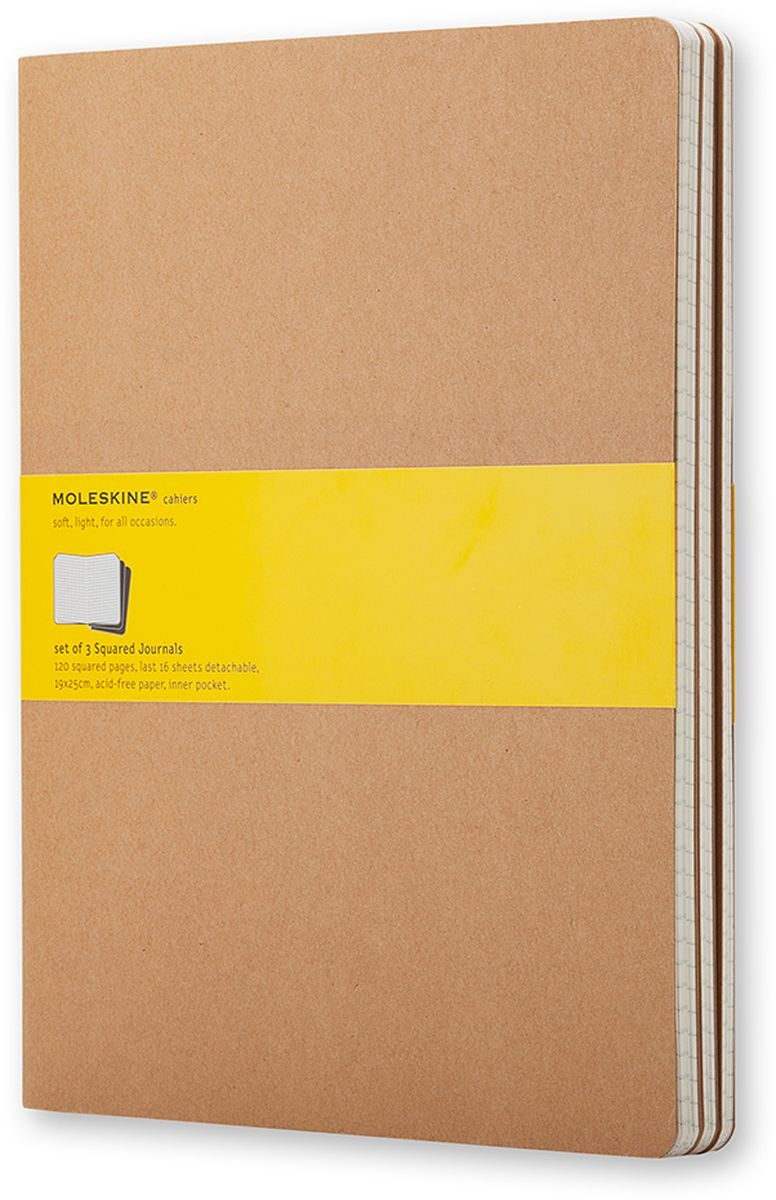 Moleskine Набор записных книжек Cahier Xlarge 60 листов в клетку цвет бежевый 3 штQP422Записные книжки Moleskine Cahier Journal Xlarge отличаются гибкой и прочной картонной обложкой и хорошо заметной прошивкой на корешке. Внутренний блок состоит из 60 листов бумаги в клетку, последние 16 листов отделяются. Есть карман для заметок на отдельных листах. В набор из 3 штук вложена открытка с историей Moleskine.