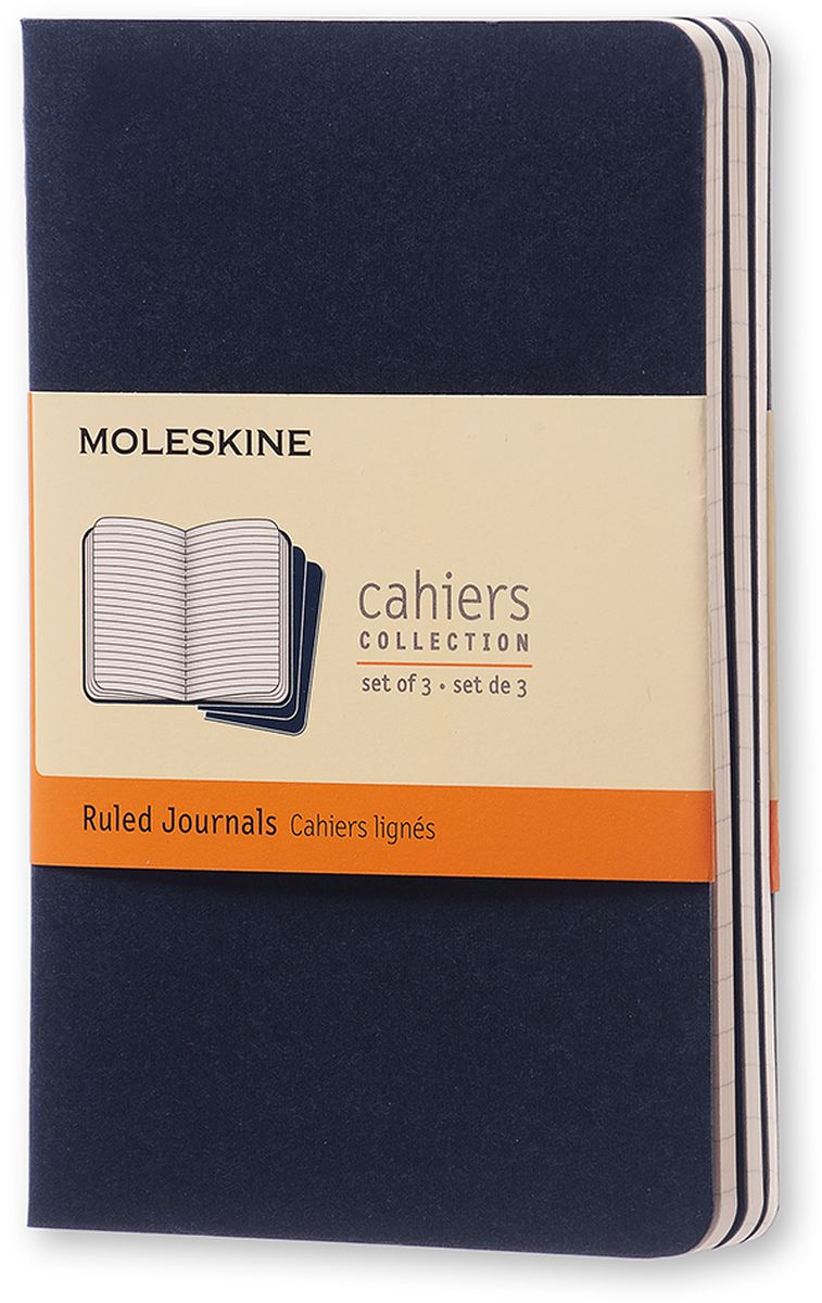 Moleskine Набор записных книжек Cahier Pocket 32 листа в линейку цвет темно-синий 3 штCH211Записные книжки Moleskine Cahier Journal Pocket отличаются гибкой и прочной картонной обложкой и хорошо заметной прошивкой на корешке. Внутренний блок состоит из 32 листов бумаги в линейку, последние 16 листов отделяются. Есть карман для заметок на отдельных листах. В набор из 3 штук вложена открытка с историей Moleskine.