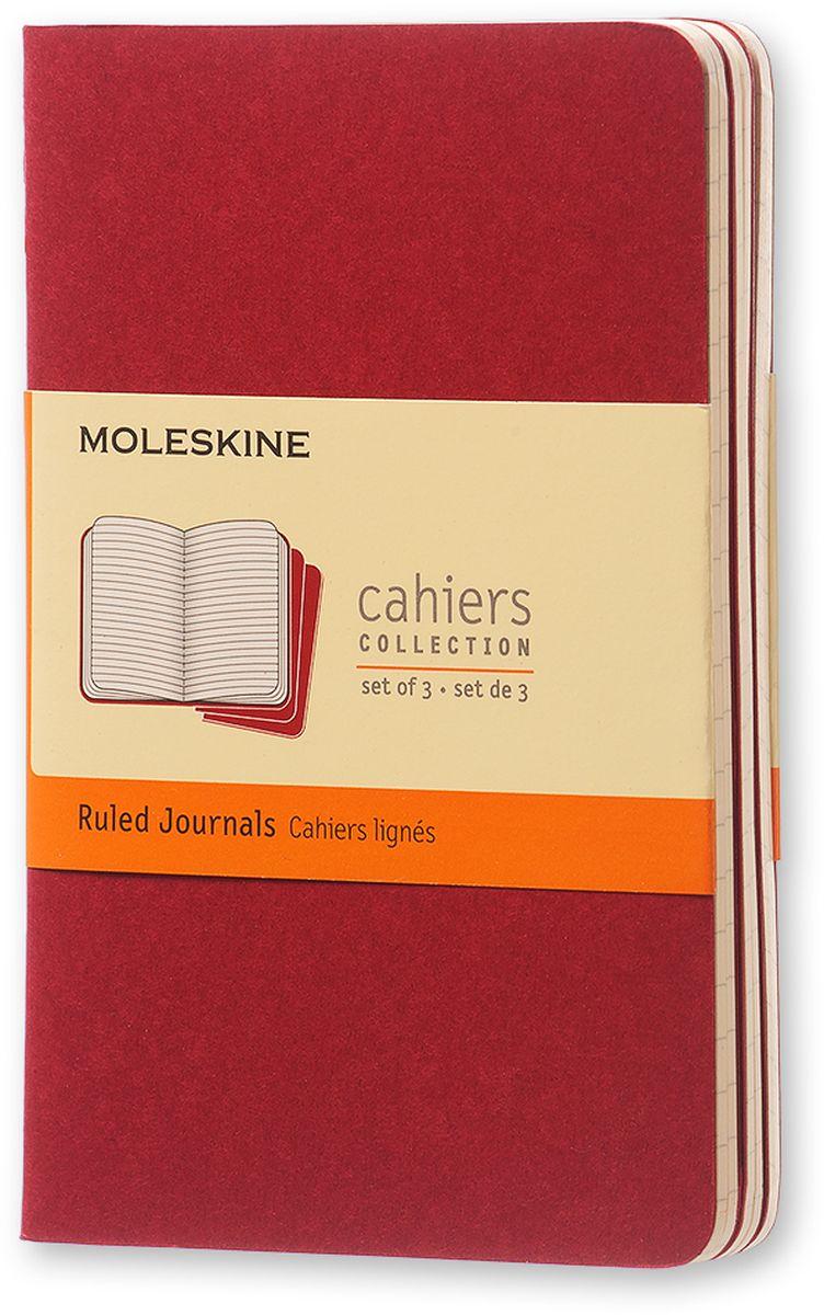 Moleskine Набор записных книжек Cahier Pocket 32 листа в линейку цвет клюквенный 3 штCH111Записные книжки Moleskine Cahier Journal Pocket отличаются гибкой и прочной картонной обложкой и хорошо заметной прошивкой на корешке. Внутренний блок состоит из 32 листов бумаги в линейку, последние 16 листов отделяются. Есть карман для заметок на отдельных листах. В набор из 3 штук вложена открытка с историей Moleskine.