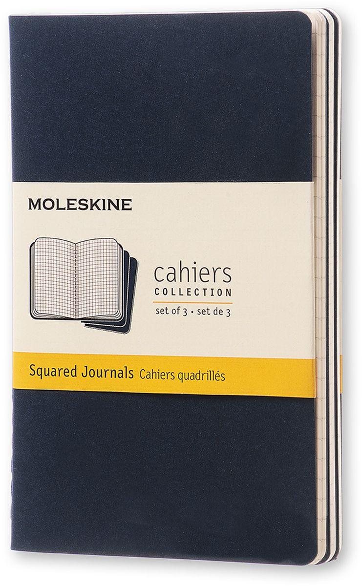 Moleskine Набор записных книжек Cahier Pocket 32 листа в клетку цвет темно-синий 3 штCH212Записные книжки Moleskine Cahier Journal Pocket отличаются гибкой и прочной картонной обложкой и хорошо заметной прошивкой на корешке. Внутренний блок состоит из 32 листов бумаги в клетку, последние 16 листов отделяются. Есть карман для заметок на отдельных листах. В набор из 3 штук вложена открытка с историей Moleskine.