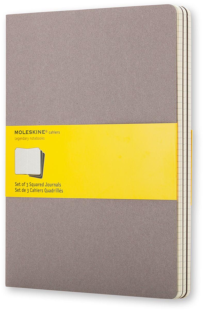 Moleskine Набор записных книжек Cahier Xlarge 60 листов в клетку цвет серый 3 штCH322Записные книжки Moleskine Cahier Journal Xlarge отличаются гибкой и прочной картонной обложкой и хорошо заметной прошивкой на корешке. Внутренний блок состоит из 60 листов бумаги в клетку, последние 16 листов отделяются. Есть карман для заметок на отдельных листах. В набор из 3 штук вложена открытка с историей Moleskine.
