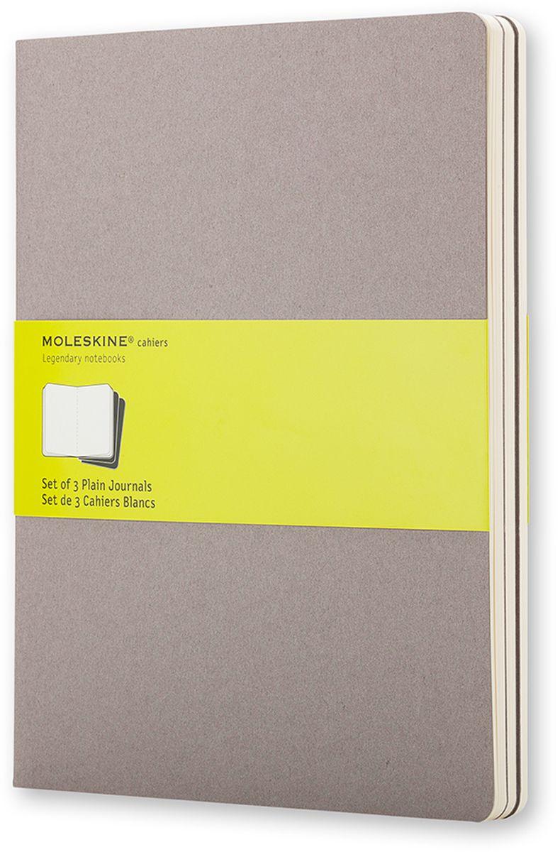 Moleskine Набор записных книжек Cahier Xlarge 60 листов без разметки цвет серый 3 штCH323Записные книжки Moleskine Cahier Journal Xlarge отличаются гибкой и прочной картонной обложкой и хорошо заметной прошивкой на корешке. Внутренний блок состоит из 60 листов бумаги без разметки, последние 16 листов отделяются. Есть карман для заметок на отдельных листах. В набор из 3 штук вложена открытка с историей Moleskine.
