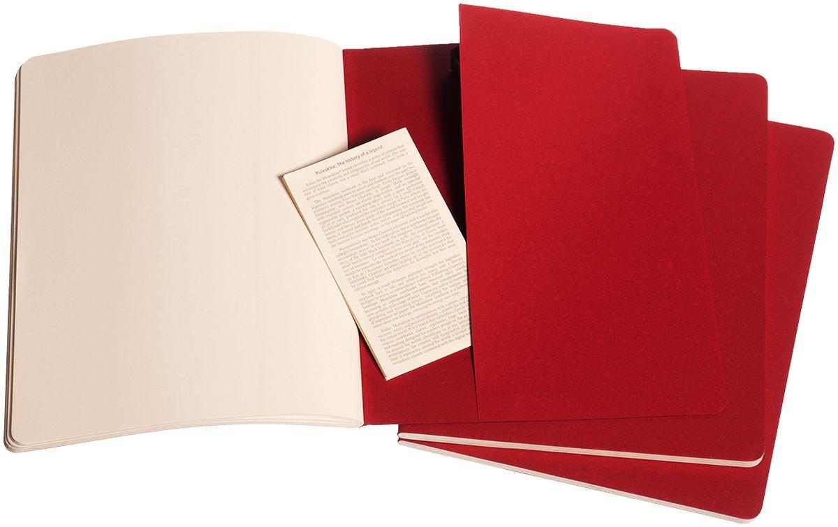 MoleskineНабор записных книжек Cahier Xlarge 60 листов без разметки цвет клюквенный 3 шт Moleskine