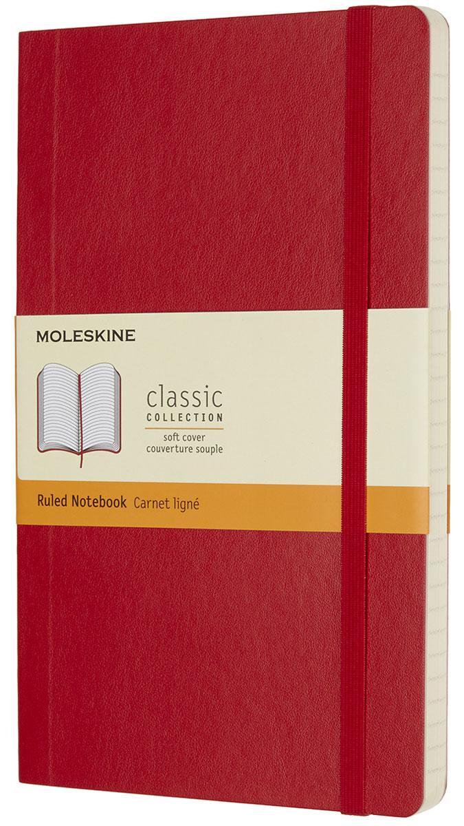 Moleskine Записная книжка Classic Soft Large 96 листов в линейку цвет красныйQP616F2Записная книжка Moleskine Classic Soft имеет цветную мягкую обложку со скругленными углами и обладает всеми преимуществами легендарной записной книжки Moleskine. Обложка гибкая и прочная. Плотные бумажные страницы только и ждут того, чтобы вы заполнили их своими идеями. Записная книжка дополнена лентой-закладкой, эластичной застежкой и вместительным внутренним карманом, куда вложена открытка с историей Moleskine.Эта записная книжка бесспорно станет надежным спутником в путешествии и поможет сохранить яркие впечатления, воспоминания и наблюдения.