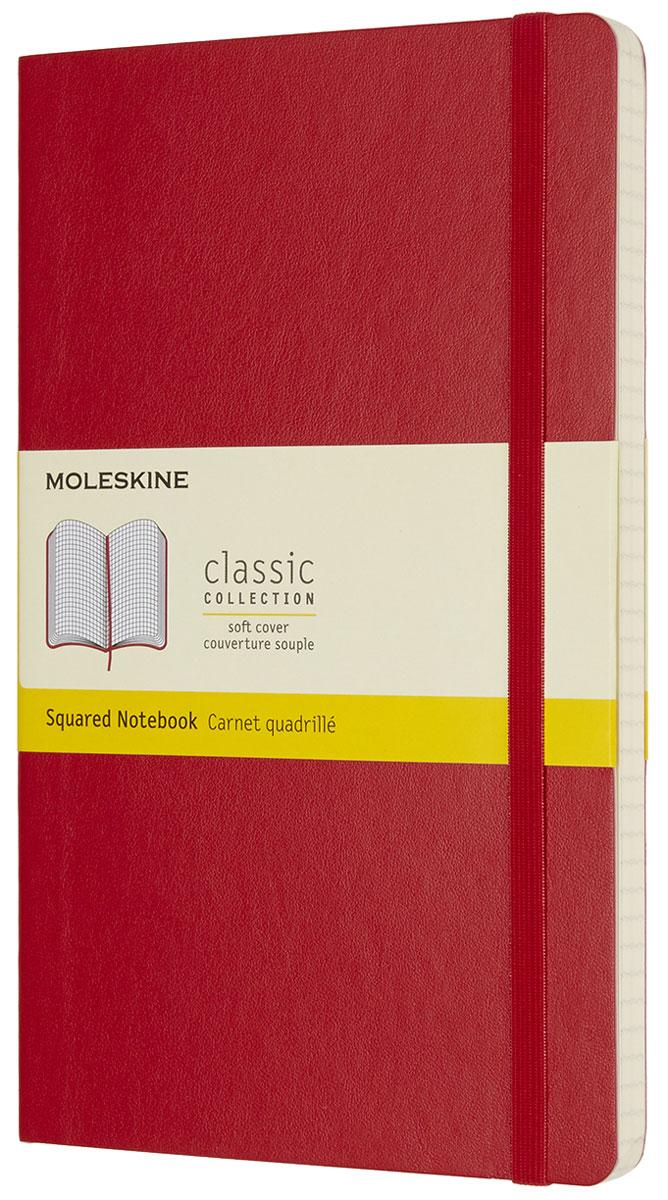 Moleskine Записная книжка Classic Soft Large 96 листов в клетку цвет красныйQP617F2Записная книжка Moleskine Classic Soft имеет цветную мягкую обложку со скругленными углами и обладает всеми преимуществами легендарной записной книжки Moleskine. Обложка гибкая и прочная. Плотные бумажные страницы только и ждут того, чтобы вы заполнили их своими идеями. Записная книжка дополнена лентой-закладкой, эластичной застежкой и вместительным внутренним карманом, куда вложена открытка с историей Moleskine.Эта записная книжка бесспорно станет надежным спутником в путешествии и поможет сохранить яркие впечатления, воспоминания и наблюдения.