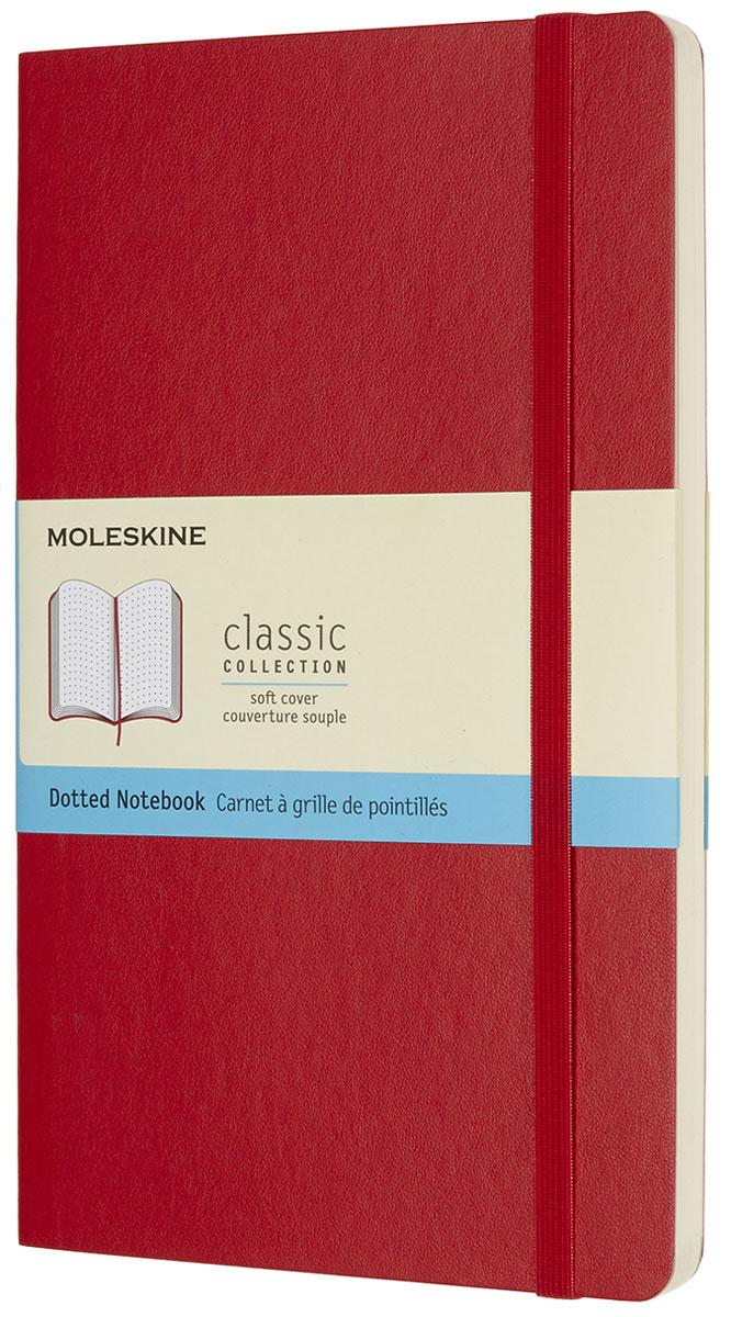 Moleskine Записная книжка Classic Soft Large 96 листов с пунктирной разметкой цвет красныйQP619F2Записная книжка Moleskine Classic Soft имеет цветную мягкую обложку со скругленными углами и обладает всеми преимуществами легендарной записной книжки Moleskine. Обложка гибкая и прочная. Плотные бумажные страницы только и ждут того, чтобы вы заполнили их своими идеями. Записная книжка дополнена лентой-закладкой, эластичной застежкой и вместительным внутренним карманом, куда вложена открытка с историей Moleskine.Эта записная книжка бесспорно станет надежным спутником в путешествии и поможет сохранить яркие впечатления, воспоминания и наблюдения.
