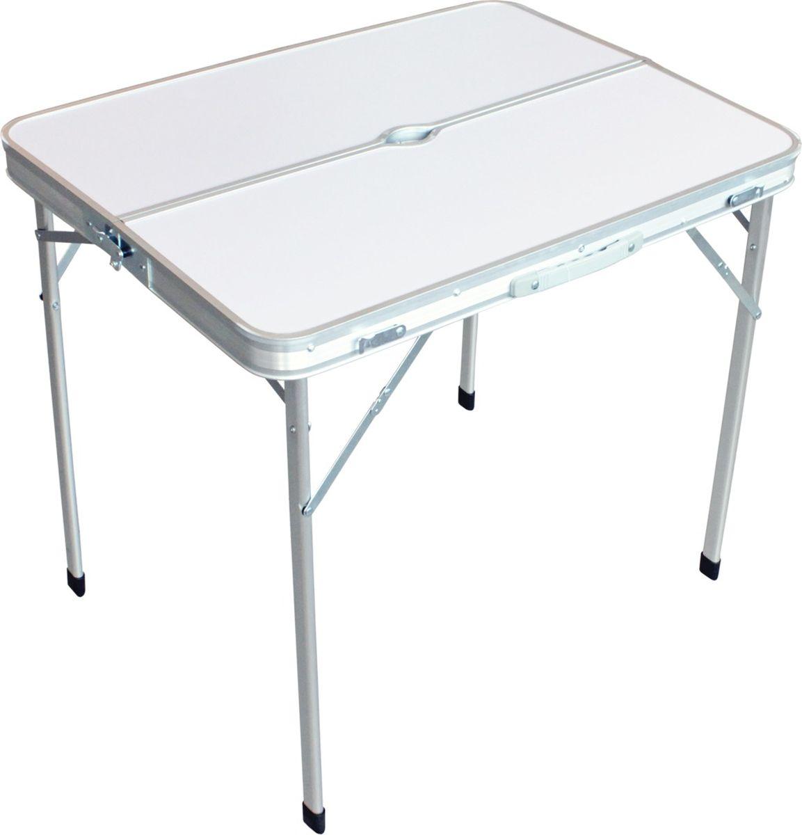 Стол складной Woodland Picnic Table Luxe, цвет: белый, 80 x 60 x 67 см49682Стол складной Woodland Picnic Table Luxe с отверстием под зонт выполнен из алюминия и МДФ. Компактная складная конструкция. Прочный алюминиевый каркас. Материал столешницы - МДФ. Удобная ручка для переноски. Максимально допустимая нагрузка 30 кг.
