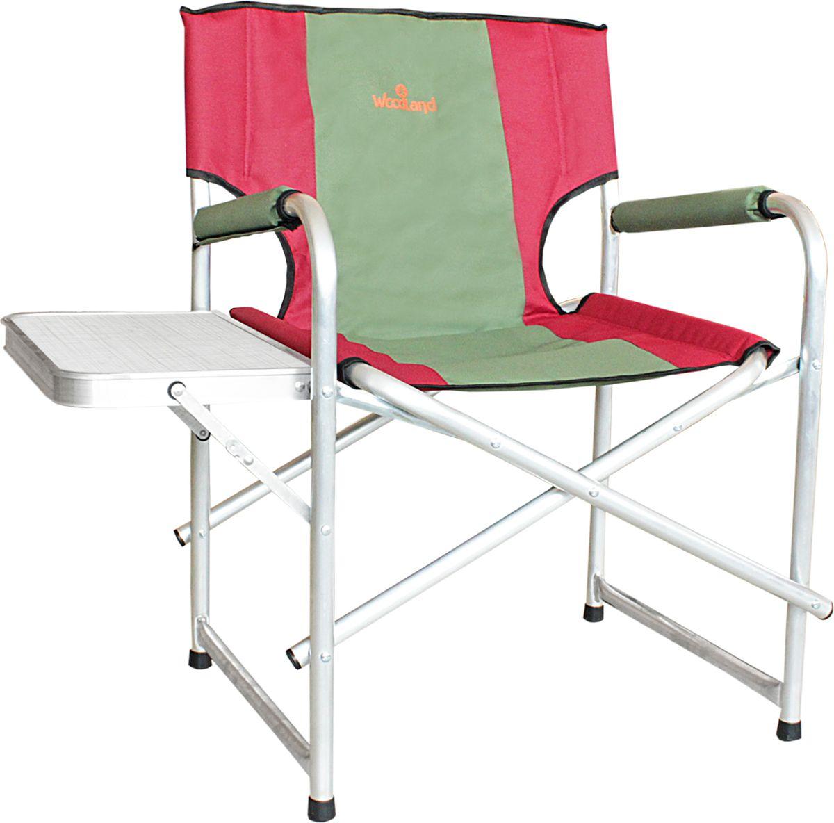 Кресло складное Woodland Super Max+, со столиком, цвет: красный, оливковый, 55 x 62 x 63 см