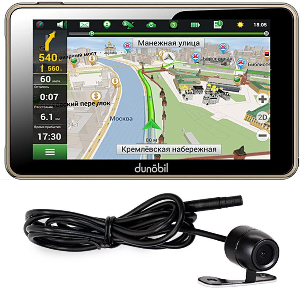 Dunobil Clio 5.0 + camera, Black автомобильный навигаторKYBPEOHDunobil Clio Parking Monitor — многофункциональный GPS-навигатор с высококонтрастным экраном диагональю 5,0 дюйма, разрешением экрана 480*272 пикселей и встроенной памятью объемом 4 Гб.Операционная система Windows CE 6.0 на базе процессора Mstar MSB2531, ARM Cortex-A7 и предустановленная во внутреннюю память устройства навигационное программное обеспечение Навител Навигатор делают эту модель компактной, но вместе с тем высокофункциональной.Предустановленное программное обеспечение дает пользователю возможность самостоятельно управлять обновлением Навител Навигатор и скачивать актуальные карты России, Европы и Азии. Устройство оснащено FM-трансмиттером, а также обладает обширными мультимедийными возможностями.Этот GPS-навигатор воспроизводит разнообразные аудио-, видео-, графические и текстовые файлы. Кроме того, пользователям предлагаются встроенные игры. Наличие слота для карты памяти поможет контролировать объем памяти устройства. В комплект также входят надежный автомобильный держатель, автомобильное зарядное устройство и USB-кабель— для комфортного и эффективного использования устройства.
