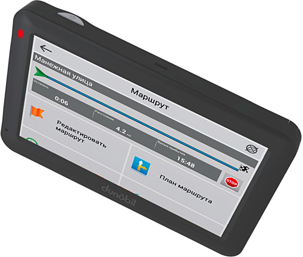 Dunobil Modern 4,3 , Black автомобильный навигаторQ67Y7NCDunobil Modern 4,3 — многофункциональный GPS-навигатор с высококонтрастным экраном диагональю 4,3 дюйма, разрешением экрана 480 х 272пикселей и встроенной памятью объемом 4 Гб. Операционная система Windows CE 6.0 на базе процессора Mstar MSB2531, ARM Cortex-A7 и предустановленная во внутреннюю память устройстванавигационное программное обеспечение Навител Навигатор делают эту модель компактной, но вместе с тем высокофункциональной. Предустановленное программное обеспечение дает пользователю возможность самостоятельно управлять обновлением Навител Навигатор искачивать актуальные карты России, Европы и Азии. Устройство оснащено FM-трансмиттером, а также обладает обширными мультимедийными возможностями. Этот GPS-навигатор воспроизводитразнообразные аудио-, видео-, графические и текстовые файлы. Кроме того, пользователям предлагаются встроенные игры. Наличие слота длякарты памяти поможет контролировать объем памяти устройства. В комплект также входят надежный автомобильный держатель, автомобильное зарядное устройство и USB-кабель— для комфортного иэффективного использования устройства.