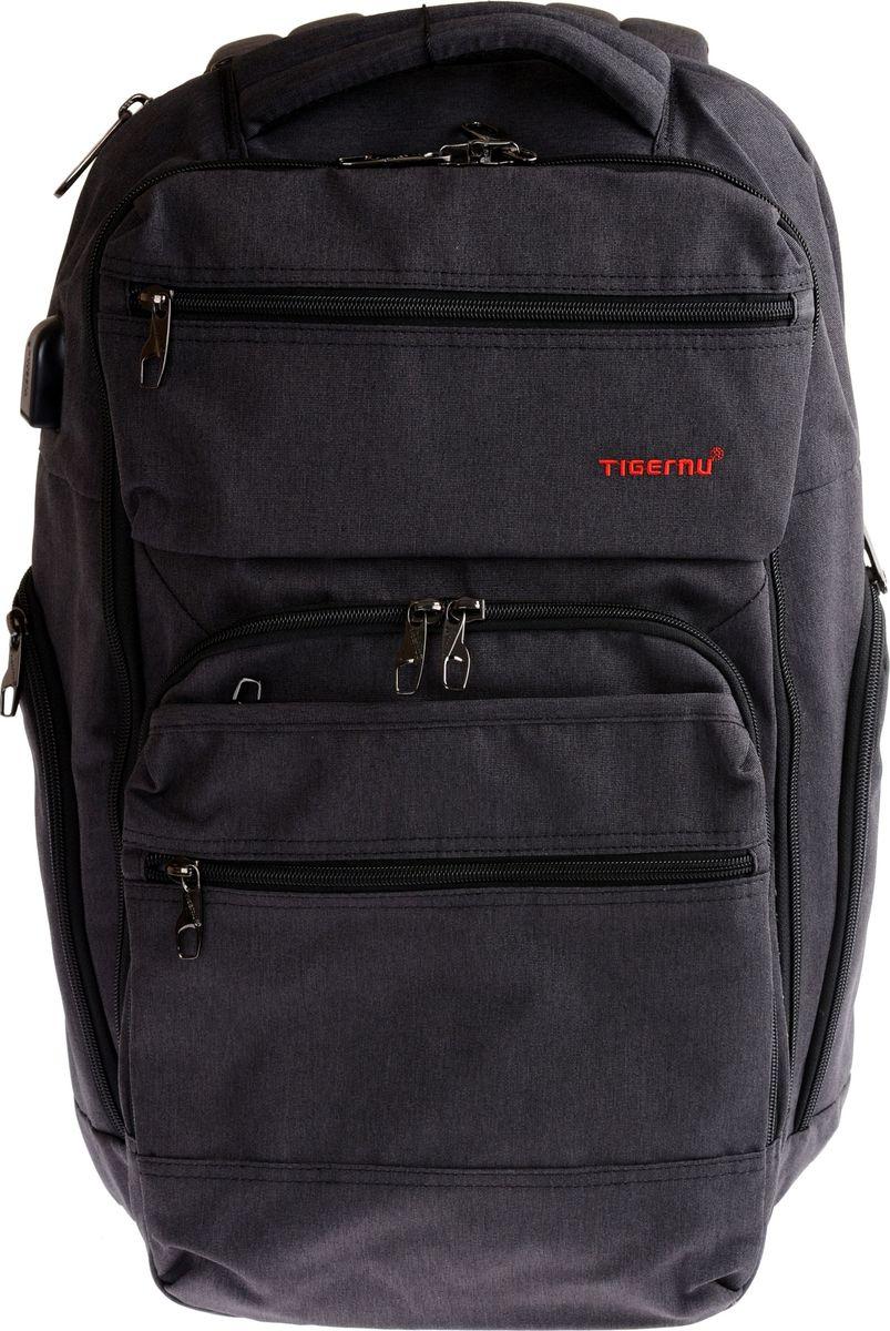 Tigernu T-B3242, Black рюкзак для ноутбука 15,6T-B3242Стильный рюкзак T-B3242 изготовлен от всемирно известного бренда Tigernu. Модель идеально подходит для активных, спортивных людей, которые много путешествуют, эффективно работают и учатся.Дизайн 25-литрового рюкзака продуман до мелочей. Он состоит из основного и дополнительного отделения, а также многочисленных карманов. В задней части модели распложен отсек для ноутбука с молнией, которая находится сбоку, что позволяет быстро и удобно достать технику. Для аксессуаров в рюкзаке предусмотрены два боковых и два передних кармана. Особо ценные вещи производитель предлагает хранить в потайном отсеке, расположенном на спинке. Дополнительный комфорт обеспечивает USB-порт, позволяющий заряжать смартфон посредством Power Bank.Tigernu T-B3242 отличается прочностью и долговечностью, благодаря использованию в производстве прочного текстильного влаго- и износоустойчивого материала Оксфорд.Кроме выше перечисленных достоинств, к преимуществам рюкзака относят:• двойную прочную молнию, выдерживающую большие нагрузки;• регулируемые по высоте грудную и плечевые лямки;• ортопедическую спинку;• возможность безопасного переноса ноутбука размером от 13 до 15,6 дюймов;• дышащий материал на спинке и лямках.