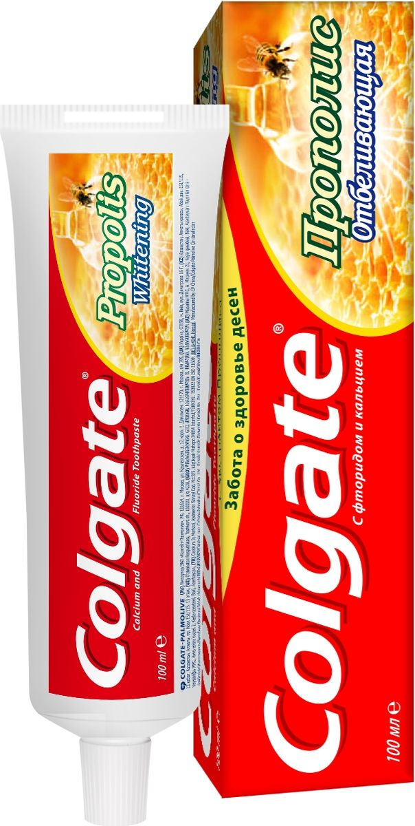 Colgate Зубная паста Прополис отбеливающая 100 мл600030Зубная паста Colgate Прополис «Отбеливающая». cодержит прополис и очищающие микрочастицы.