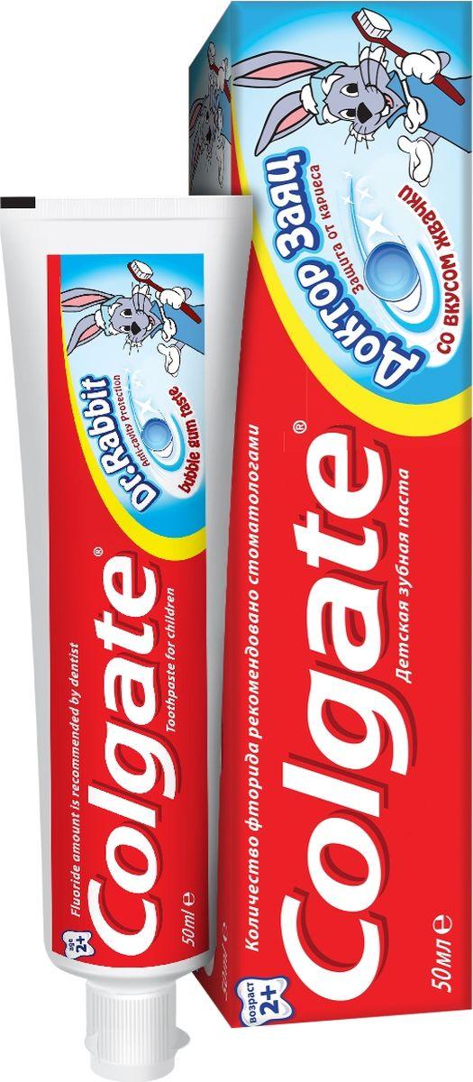 Colgate Зубная паста Доктор Заяц вкус жвачки, 50 мл4015156Малышей бывает сложно уговорить чистить зубы, поэтому родители идут на любые ухищрения, чтобы привить детям эту полезную привычку. В этом может помочь зубная паста Colgate «Доктор Заяц» для детей 2+ со вкусом жвачки или клубники. Чистить зубы такой зубной пастой не только приятно, но и полезно. Эта гелевая зубная паста специально разработана для малышей старше 2 лет.Детям до 6 лет рекомендуется использовать количество зубной пасты размером с горошину под присмотром взрослых. Не глотать Безопасное количество фтора в зубной пасте оптимально подходит для эффективного ухода за детскими зубками. Безопасное количество фтора в зубной пасте оптимально подходит для эффективного ухода за детскими зубками, Специальная формула помогает защитить зубы от кариеса, Вкус клубники или жвачки определенно понравится вашему малышу, и он будет с удовольствием чистить зубы утром и вечером!