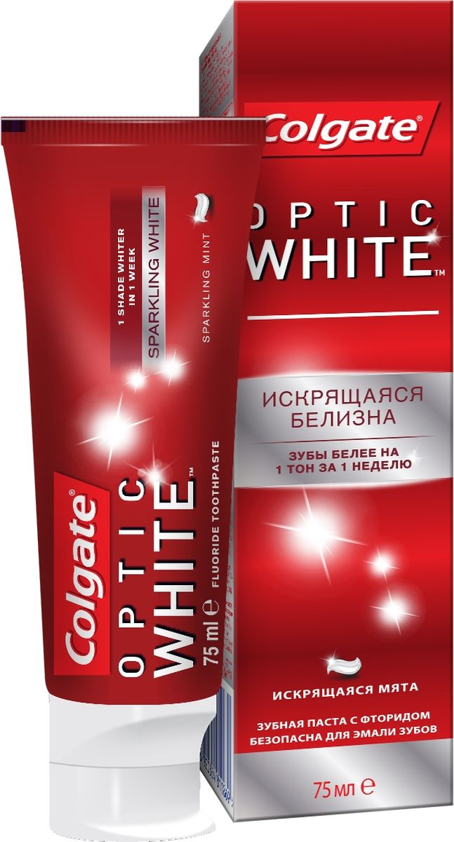 Colgate Зубная паста Optic White, отбеливающая, 75 мл colgate optic white sparkling white whitening toothpaste 75 ml