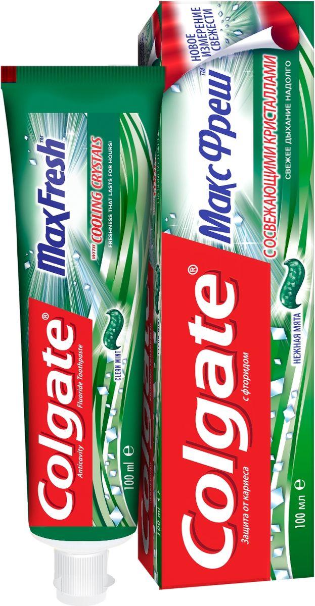 Зубная паста Colgate МаксФреш, нежная мята, 100 млFCN89272Зубная паста Colgate МаксФреш с фтором и отбеливающим кристаллами освежает дыхание, отбеливает зубы и борется с кариесом.Характеристики: Объем: 100 мл. Производитель: Китай. Товар сертифицирован.