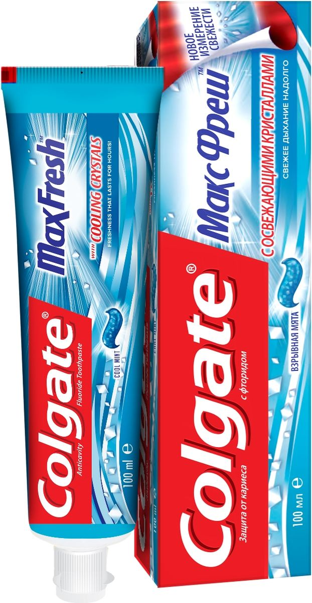 "Зубная паста Colgate ""МаксФреш"", с фтором, взрывная мята, туба, 100 мл"