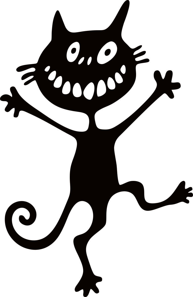 Наклейка автомобильная Оранжевый слоник Кот-идиот, виниловая, цвет: черный