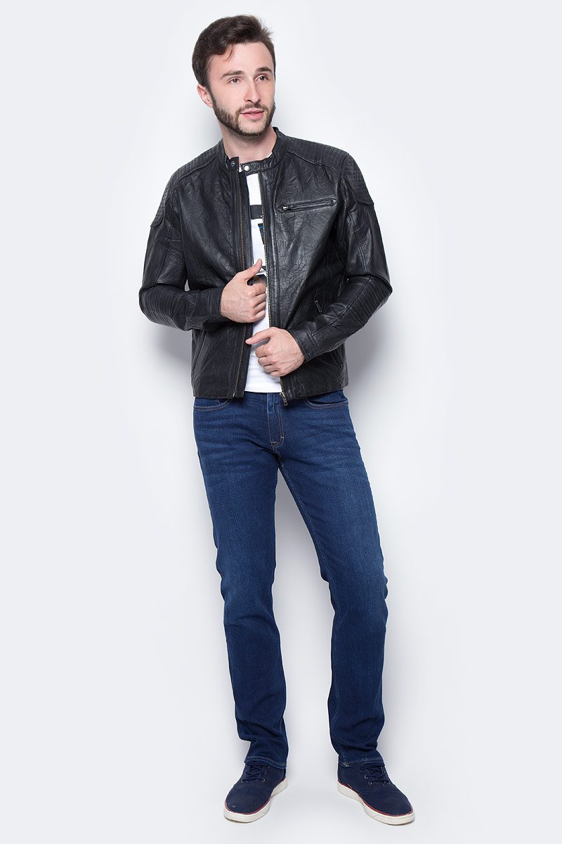Куртка муж Jack & Jones, цвет: черный. 12124257_Black. Размер L (48/50)12124257_Black