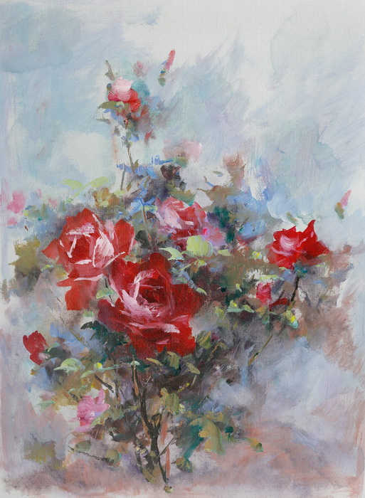 Картина Розы. Холст, масло. 30х40 смАРТ 87304006