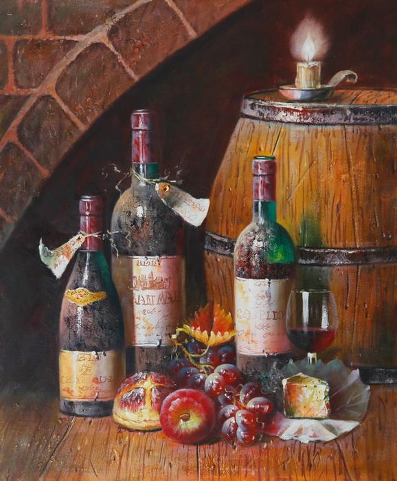 Картина Натюрморт с вином. Холст, масло. 50х60 смАРТ 355005Авторская живопись маслом на холсте. Размер 50х60 см. На подрамнике. Картина продается без рамы, холст натянут на профессиональный (модульный) подрамник. Советы по оформлению картин в багет: Рама и картина должны взаимно дополнять друг друга и не должны соперничать между собой. При оформлении всегда доминирует картина, а раме отводится лишь роль связующего звена между картиной и интерьером. Багет должен сочетаться с картиной по цветовой гамме. Учитывайте глубину багета - если вы не хотите, чтобы был виден подрамник, на который натянута картина, то необходимо выбрать багет с глубиной от 1,5 см. Не бойтесь экспериментировать, используйте составную раму из двух и более разных профилей багета.Все багетные профили в составной раме должны быть разной ширины!