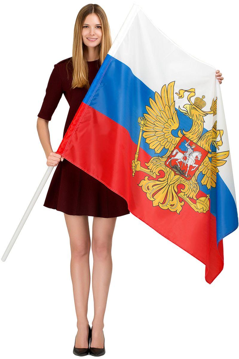 Флаг Ratel  Россия с гербом , двухсторонний, 90 х 135 см - Национальная Атрибутика