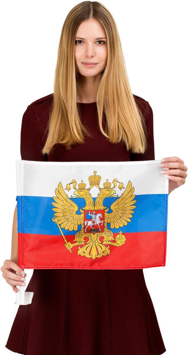 Флаг автомобильный Ratel Россия с гербом, односторонний, 30 х 40 см флаг автомобильный ratel пограничные войска россии двухсторонний 30 х 40 см