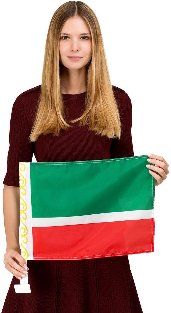 Автомобильный флаг Чеченской республики с яркой двухсторонней печатью. Обязательно приобретение автомобильного флагштока для  закрепления  флага на автомобиле.