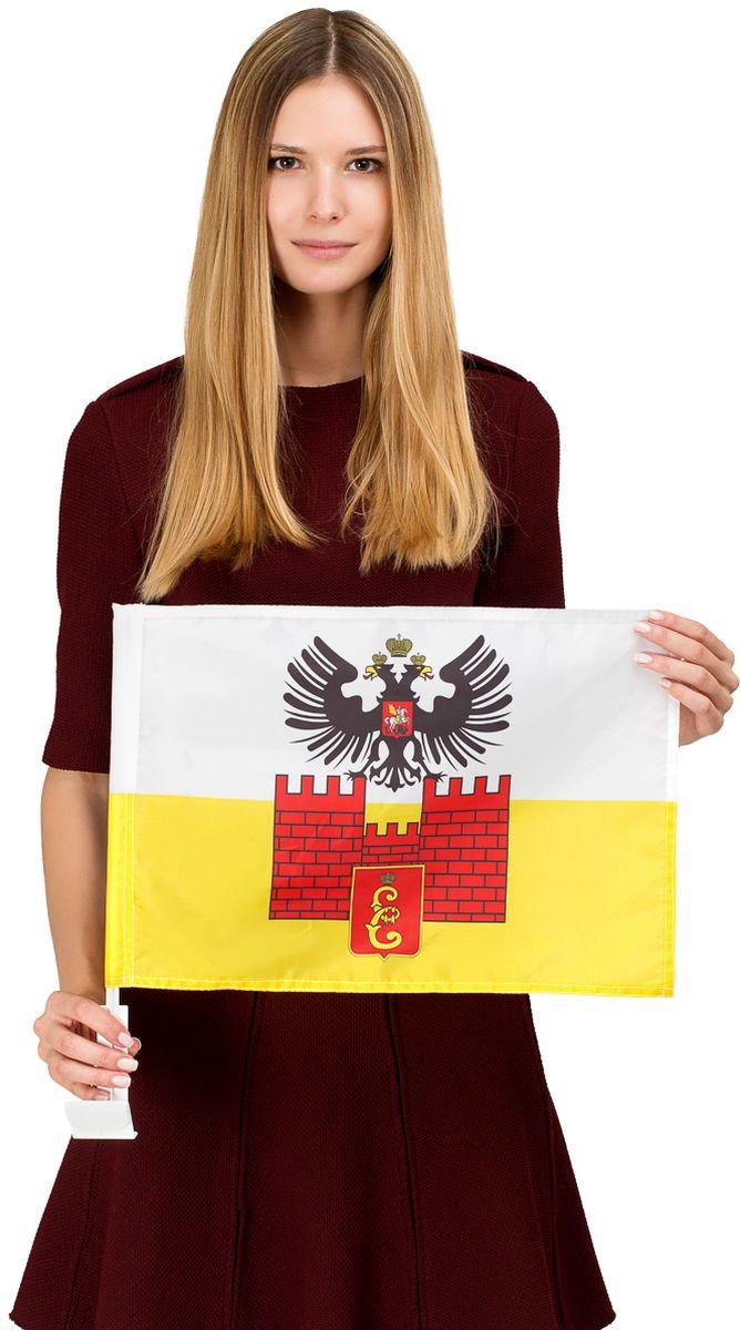 Автомобильный флаг Краснодара. Размер полотна:  30 см. х 40 см. Материал: полиэфирный шелк, яркая печать с одной стороны. Обязательно приобретение атомобильного флагштока для  закрепления  флага на автомобиле. Производство - Россия, Москва.