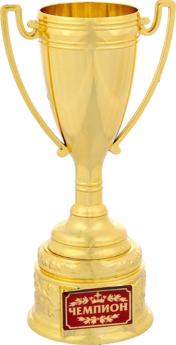 """Кубок """"Чемпион"""" — это классика среди кубков, сверкающая золотом! Сувенир выполнен в форме чаши, покрыт золотой краской, дополнен яркой цветной бляшкой, изготовленной из метала, с наименованием номинации, за которую он вручается. Награда упакована в прозрачную пластиковую коробку с тиснением, которая дополняет и украшает кубок, придавая ему ещё больше статуса. На обороте коробки получатель найдёт добрые слова и тёплые пожелания."""