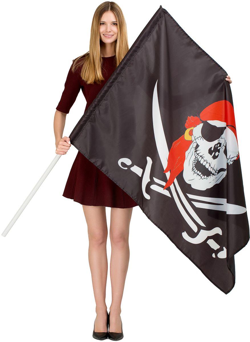 Флаг Ratel Пиратский, односторонний, 90 х 135 смG212Флаг Пиратский. Размер полотна : 90 см. х 135 см. Материал: полиэфирный шелк, яркая печать с одной стороны. Предназначен как для использования на улице, так и в помещениях.Используется как сдержателем -древком, так и без него.Производство -Россия, Москва.