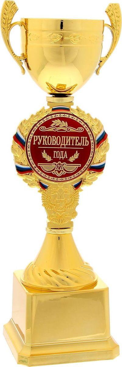 Кубок сувенирный Руководитель года. 12001481200148Кубок — это подарок, который станет не только приятной памятью на долгие годы, но и предметом гордости для будущего владельца! Ножка кубка украшена гербом России и медалью с надписью, которая обрамлена лавровой ветвью и лентой цвета флага Российской Федерации. Медаль-вставка изготовлена из металла с акриловым покрытием, которое предотвращает потускнение и создает яркую поверхность с приятным шелковым переливом. Кубок Руководитель года комплектуется яркой подарочной упаковкой, которая позволит преподнести подарок в особо запоминающейся форме.