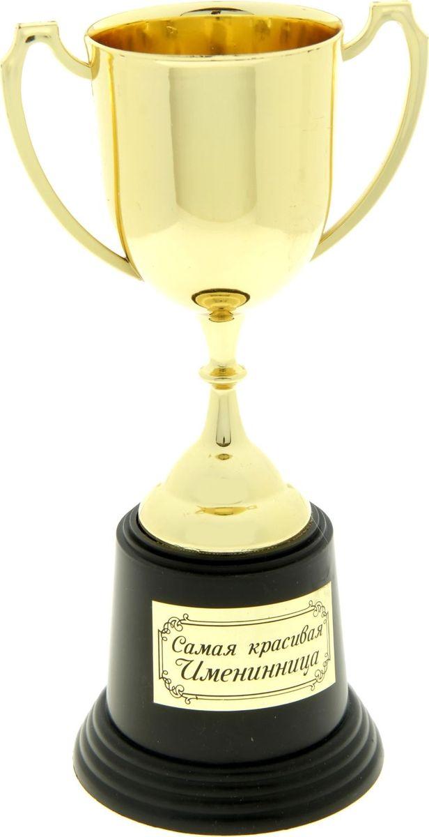 Кубок сувенирный Самая красивая именинница. 182607182607Кубок средний Самая красивая именинница изготовлен из пластика под золото. Основание кубка украшено металлизированной наклейкой с номинацией. Сувенир упакован в фирменную яркую коробку, которая придает ему праздничный вид.