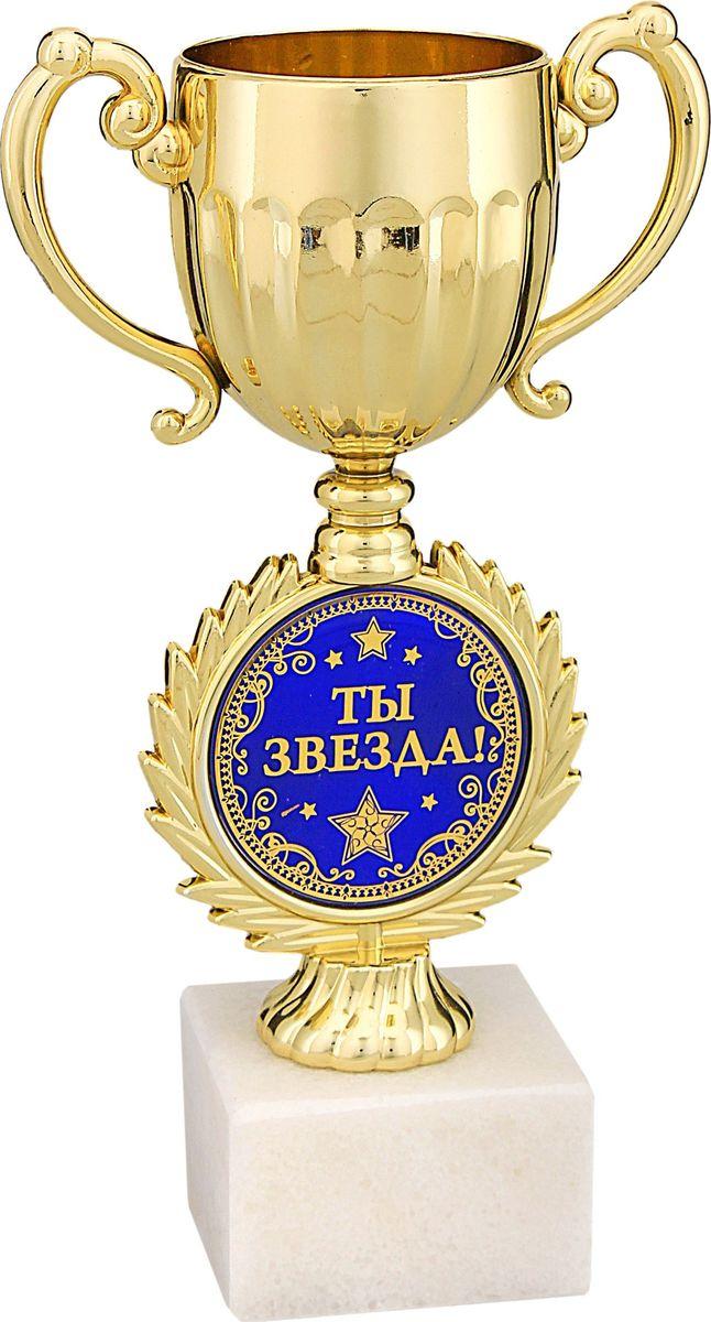 Кубок сувенирный Ты звезда. 491196491196Кубок Я - звездастанет достойной наградой во время корпоративного праздника или другого события. Выбирая этот подарок, вы дарите не просто вещь, но и ощущение праздника. Кубок на подставке из камня выполнен в торжественном стиле на ножке - оригинальная круглая вставка, которая изготовлена из металла с акриловым покрытием, что предотвращает её потускнение, и обрамлена рельефным рисунком в виде лавровых ветвей. Кубок комплектуется яркой подарочной упаковкой.