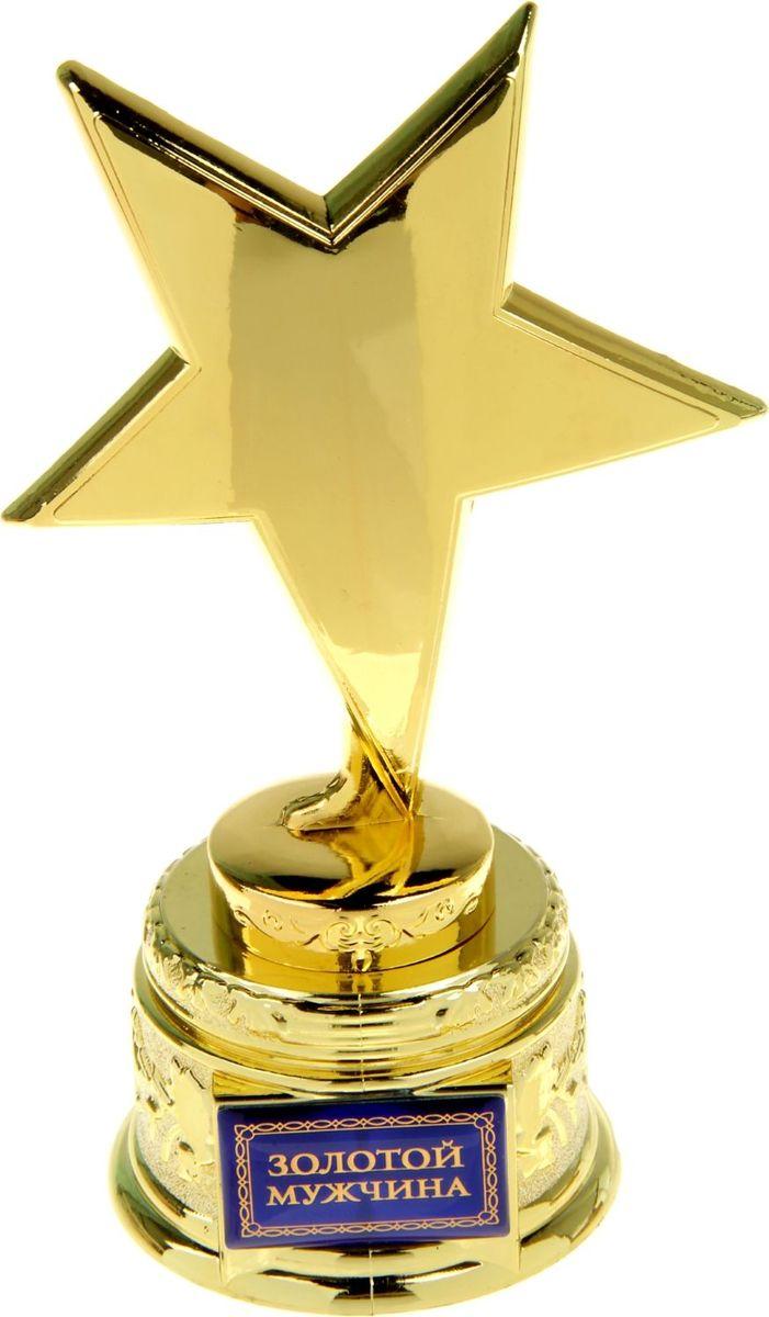 Кубок сувенирный Звезда. Золотой мужчина. 572022572022Все достижения обязательно должны быть отмечены наградой. Звезда Золотой мужчина прекрасно подойдет для наград на семейных праздниках. Он изготовлен из металла под золото. На основании награды имеется вставка, на которой написаны достижения награждаемого. Кубок упакован в фирменную подарочную коробку.