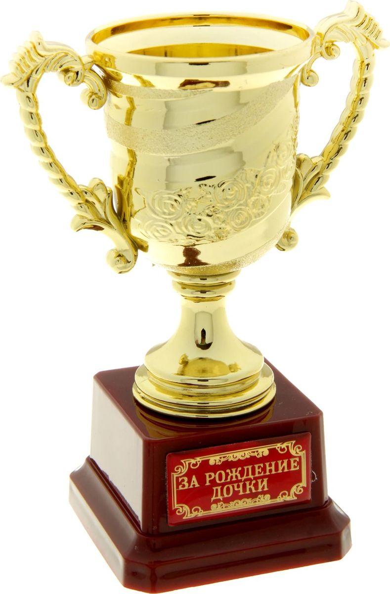 Кубок сувенирный За рождение дочки. 806971806971Кубок - символ почета и уважения, блистательных побед и выдающихся успехов. Награда для истинных победителей и просто дорогих и любимых людей. Эксклюзивный кубок станет настоящим украшением Вашего праздника, поможет оригинально наградить победителя или создать незабываемую церемонию поздравления. Кубок изготовлен из легкого золотистого пластика, установлен на пластиковую подставку с полимерной наклейкой. Яркая фирменная упаковка PVC дополняет подарок. Награждайте и удивляйте!